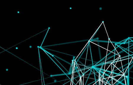 Abstract digital technology background. Big data visualization. Network connection structure. 3d render.