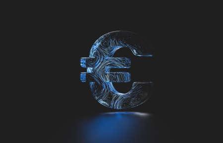 Futuristic euro cent digital currency. digital money 3d icon. 免版税图像