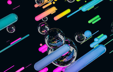 Futuristic geometric dynamic lines shape with bubbles background. Abstract 3d art background.