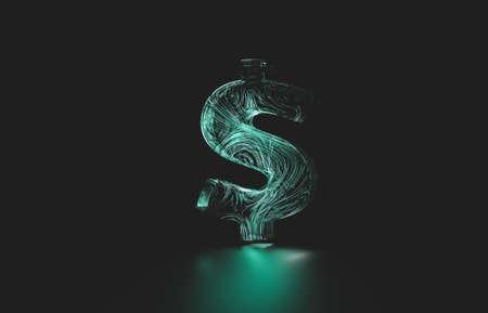 Futuristic dollar digital currency. digital money 3d icon. 免版税图像