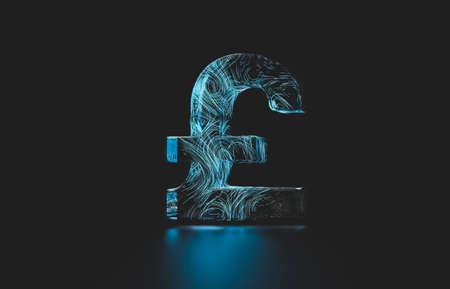 Futuristic British pound digital currency. digital money 3d icon.