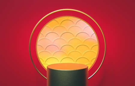 Abstract cylinder box with full moon background. Chinese Mid autumn festival background. 3d render. 免版税图像
