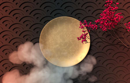 Chinese Mid autumn festival background with empty gold plate. 3d render.