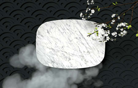 Chinese Mid autumn festival background with empty marble plate. 3d render. 免版税图像