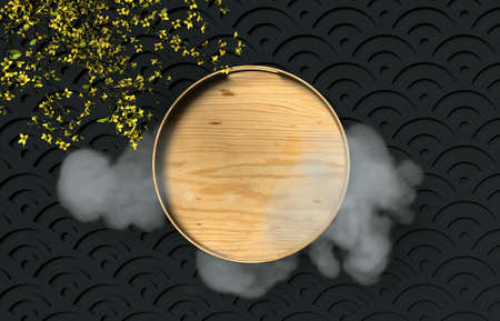 Chinese Mid autumn festival background with empty wooden plate. 3d render.