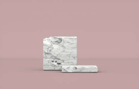 Minimal natural beauty podium backdrop with stone texture for cosmetic product display. 3d render.