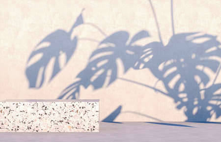 Natural beauty podium backdrop for cosmetic product display with tropical palm leaves. 3d render.