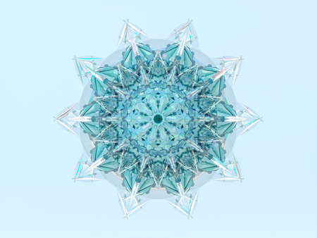 Abstract 3d geometric crystal mandala flower with iridescent texture. faceted gem, winter snowflake.