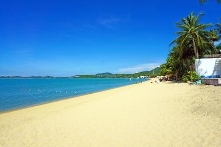 The Bophut beach in Koh Samui Thailand  White sand, clear sea and blue sky