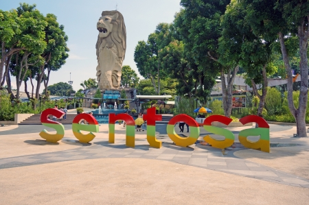 merlion: Welcome to Sentosa with Merlion statue  Editorial
