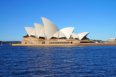 blue waters: Sydney Opera House with blue sky