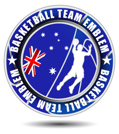 team sport: Basketball team emblem with flag of Australia
