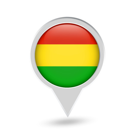 Bolivia Flag Round Pin Icon. Vector icon.