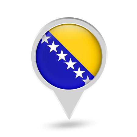 Bosnia and Herzegovina Flag Round Pin Icon. Vector icon.