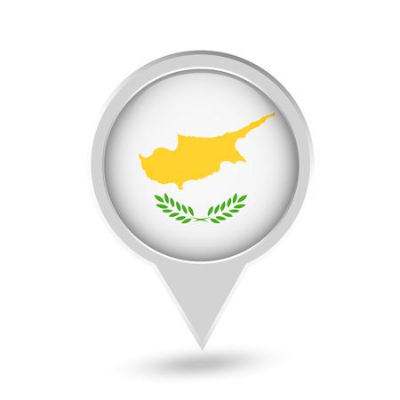 Icona rotonda del perno della bandiera della Cipro. Icona di vettore. Archivio Fotografico - 97312329