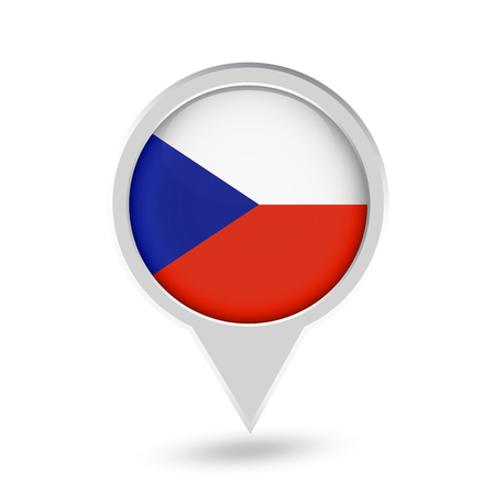 Czech Republic Flag Round Pin Icon. Vector icon.
