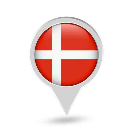 Denmark Flag Round Pin Icon. Vector icon. Иллюстрация