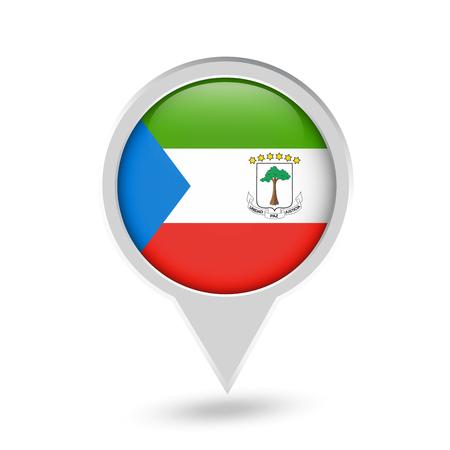 Equatorial Guinea Flag Round Pin Icon. Vector icon.