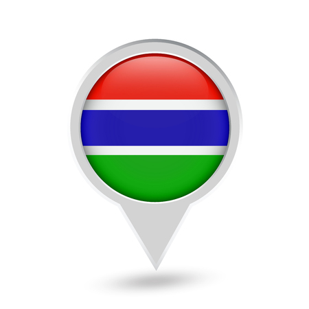 Gambia Flag Round Pin Icon. Vector icon.