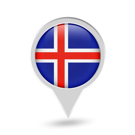 Iceland Flag Round Pin Icon. Vector icon. Illustration