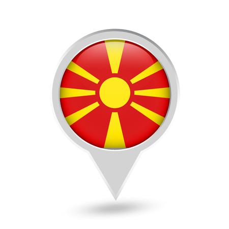 Macedonia Flag Round Pin Icon. Vector icon.