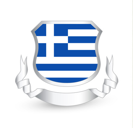 Greece flag in shield and ribbon icon