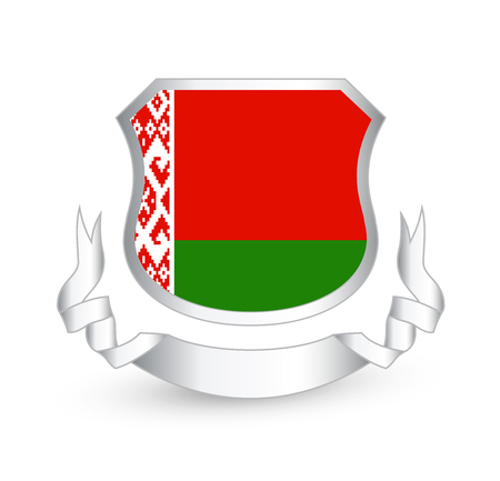 Belarus flag in shield. Vector illustration.