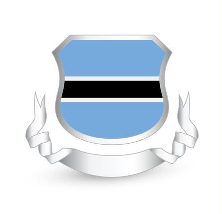 Botswana flag in shield and ribbon. Vector illustration.