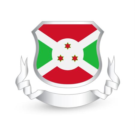 Burundi flag in shield and ribbon. Vector illustration.
