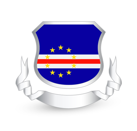 Cape Verde flag in shield and ribbon