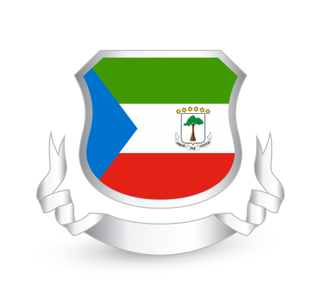 Equatorial Guinea flag in shield and ribbon Illustration