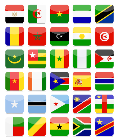 World Flags Flat Square Icon Set.All elements are separated in editable layers clearly labeled. Ilustrace