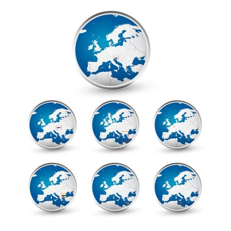 Globe set with EU countries World Map Location 일러스트