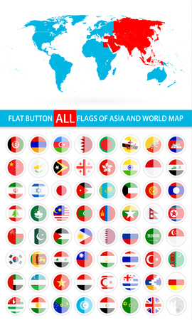 Round Flat Button Flags Of Asia Complete Set and World Map. Flag set in alphabetical order.All elements are separated in editable layers clearly labeled.