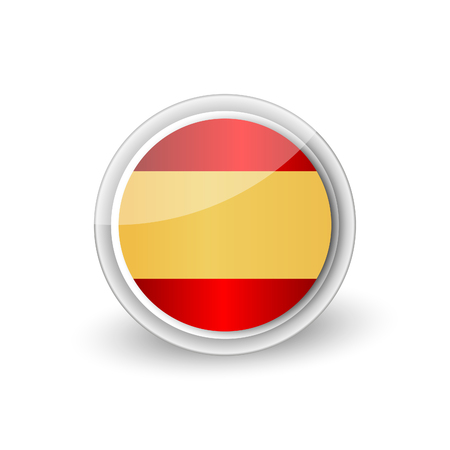 A Vector rounded flag button icon of Spain Vettoriali