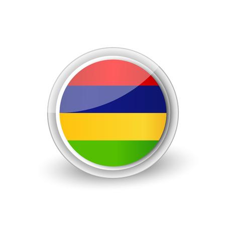 Rounded flag icon of of Mauritius Illustration
