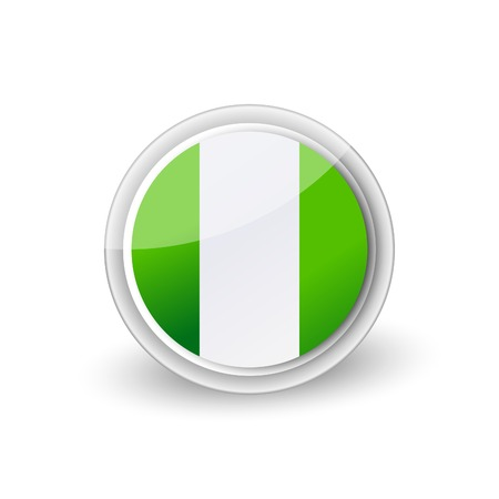 A Vector rounded flag button icon of Nigeria