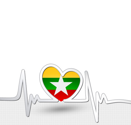 Myanmar flag heart and heartbeat line
