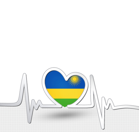 Rwanda flag heart and heartbeat line.Patriotic vector background.