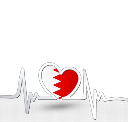 Bahrain flag heart and heartbeat line.Patriotic vector background.