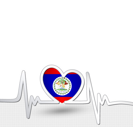 Belize flag heart and heartbeat line.Patriotic vector background.