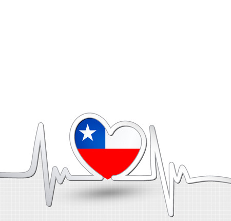 Chile flag heart and heartbeat line