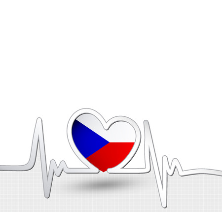 Czech Republic flag heart and heartbeat line Ilustrace