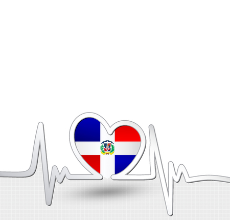 Dominican Republic flag heart and heartbeat line