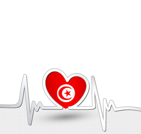 Tunisia heart and heartbeat line.Patriotic vector background. Ilustração