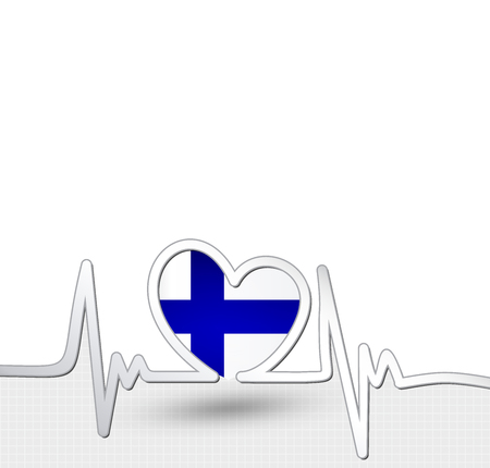 Finland flag heart and heartbeat line Çizim