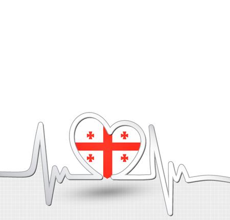 Georgia flag heart and heartbeat line