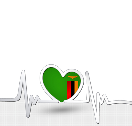 Zambia flag heart and heartbeat line
