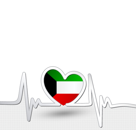 Kuwait flag heart and heartbeat line.Patriotic vector background. Illustration