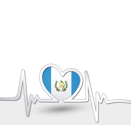 Guatemala flag heart and heartbeat line